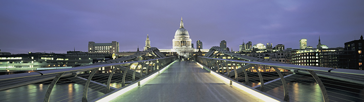 Bridge into the financial district of London