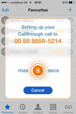 CallThrough on the Amiigo for iPhone app